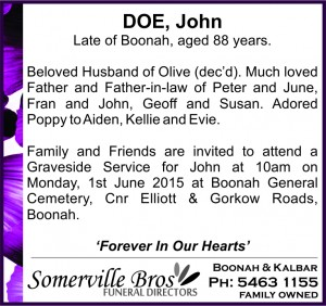 Example Funeral Notice